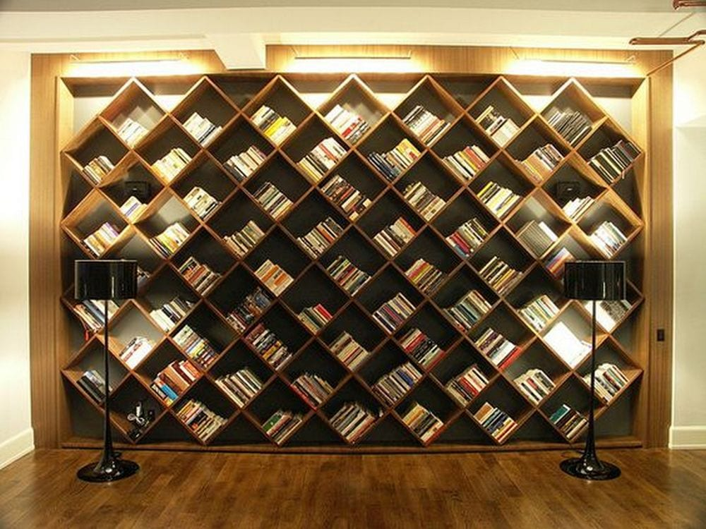 This diagonal bookshelf is an excellent upgrade to the typical bookshelf.