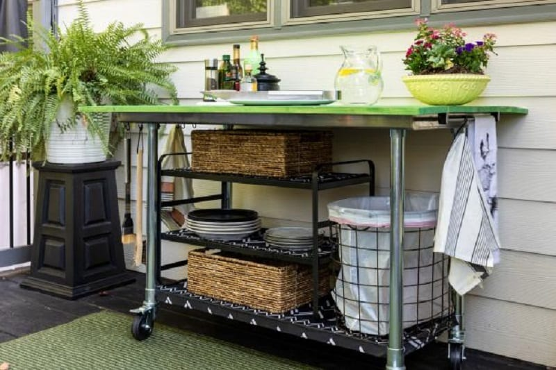 Most kitchen cart set-ups include a small counter space and storage.