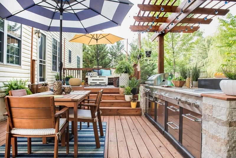 You can build your outdoor kitchen right on your existing deck or patio.